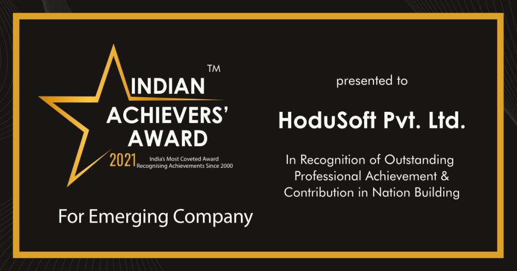 HoduSoft bags Indian Achievers' Award 2021 as Emerging Company